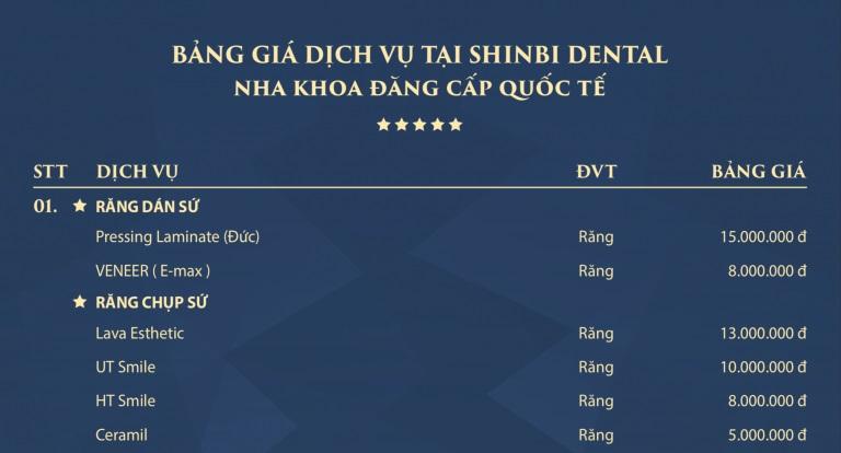 Bảng giá nha khoa shinbi